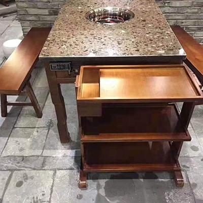 石木结合火锅桌椅