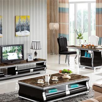 现代大理石茶几电视柜餐桌椅不锈钢架钢化玻璃面板可伸缩柜组合