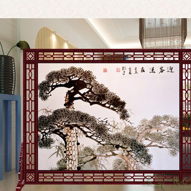 定制中式 实木镂空屏风隔断酒店座屏餐厅办公室卧室企业大厅
