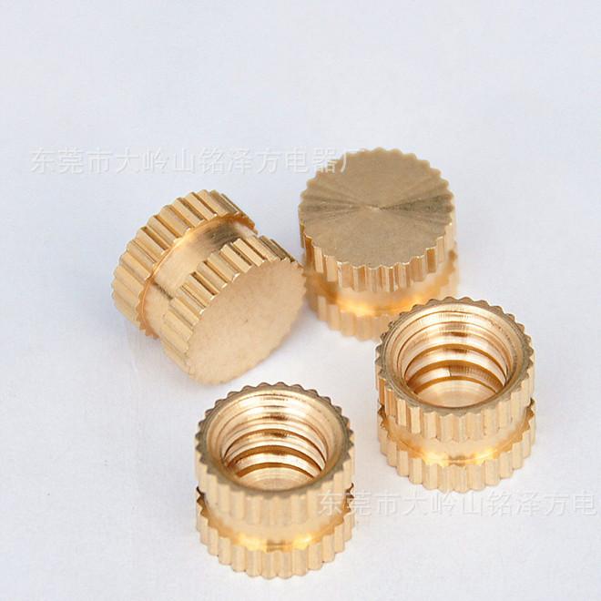 环保滚花盲孔单通不通美规美标美制英制1/4-20*8*6铜螺母 嵌件