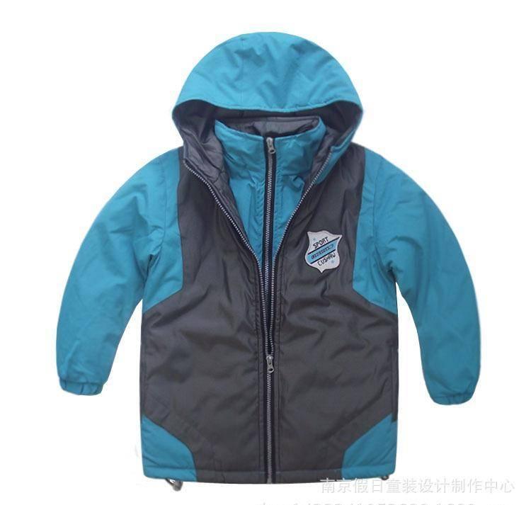 外贸儿童棉衣中大童双领休闲棉袄儿童冬装加厚外套连帽棉衣加绒