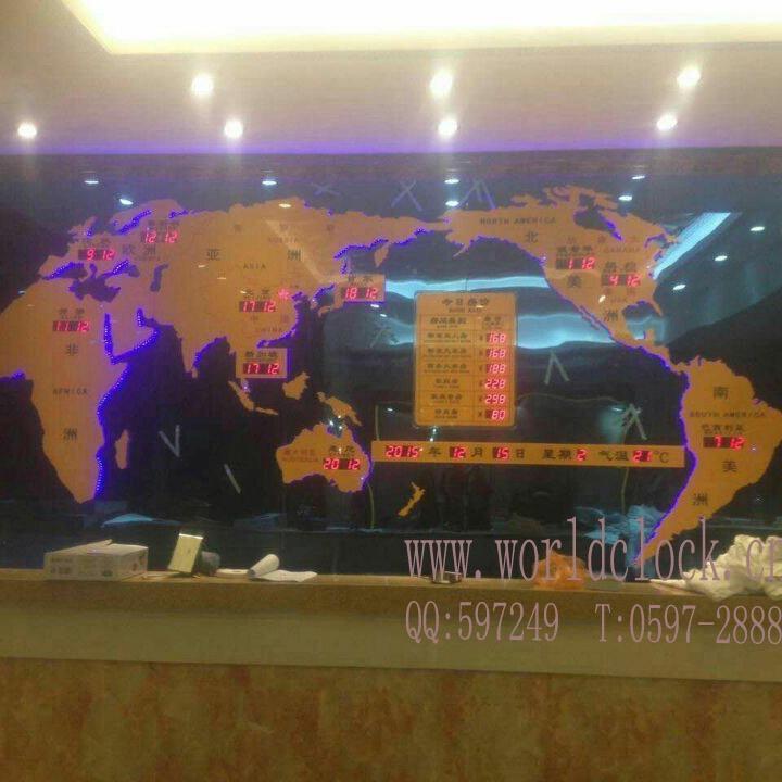 电子钟 世界时间 装饰钟 数字电子钟 酒店大堂背景时钟 大堂前台新款装饰