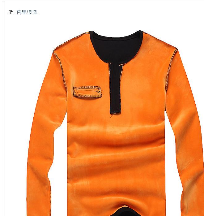 2016冬季加绒保暖长袖t恤男装 复合绒新款爆款男式打底衫加厚上衣