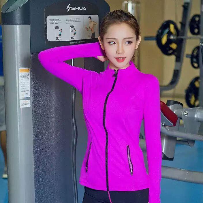 新款女士拉链长袖 健身跑步 瑜伽 上衣吸湿排汗速干运动外套