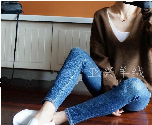 超爱 慵懒又率性的廓形深V羊绒衫 秋冬纯山羊绒毛衣打底针织衫女