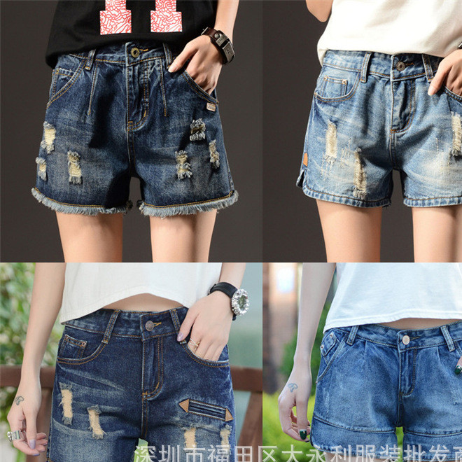 夏季韩版外贸女式牛仔短裤清仓 破洞女装牛仔裤夏季女款地摊货源