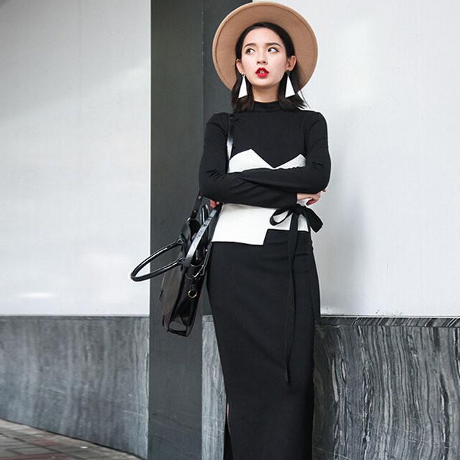 原创女装秋冬季新款长袖收腰修身两件套中长款显瘦打底连衣裙批发