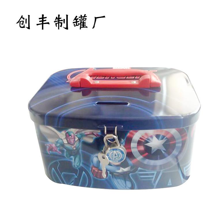 马口铁储钱罐 马口铁存钱罐带锁 儿童金属储蓄罐存钱罐现货批发