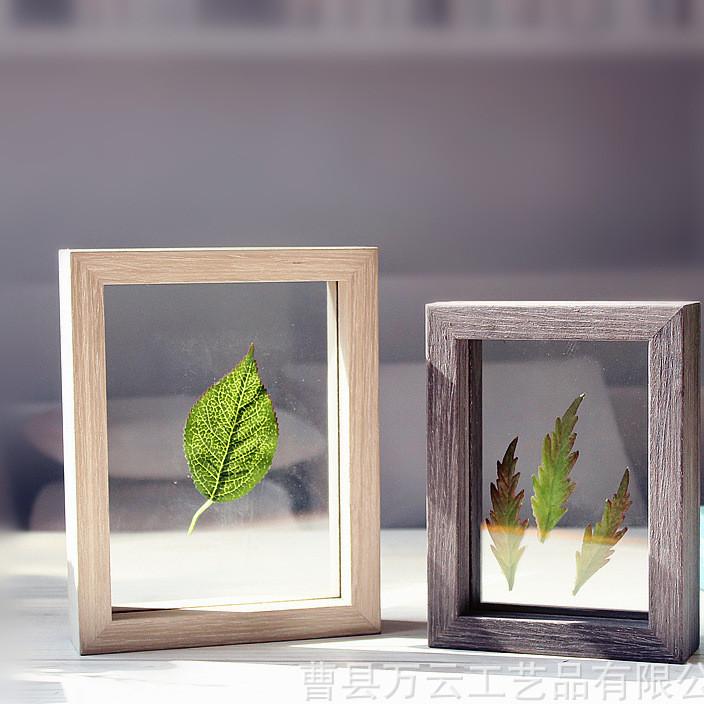 双面玻璃相框植物标本框6寸7寸木质创意摆台装饰画框像框可定做