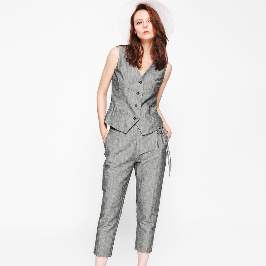 2017新款欧美风 色织条纹棉麻真丝衬里马甲+松紧腰八分裤套装