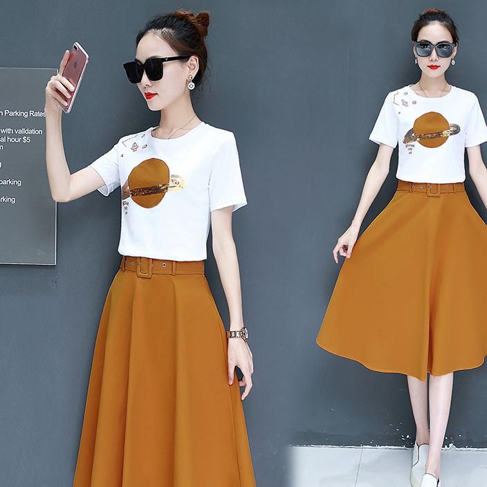 夏季女装2018韩版新款小清新韩版裙子中长款时髦两件套装连衣裙夏