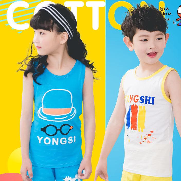 2017夏季新款儿童背心套装 纯棉背心套装 男女童韩版套装批发