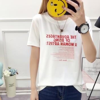 时尚新款韩版女装打底上衣2018夏装圆领宽松字母印花短袖女 t恤衫