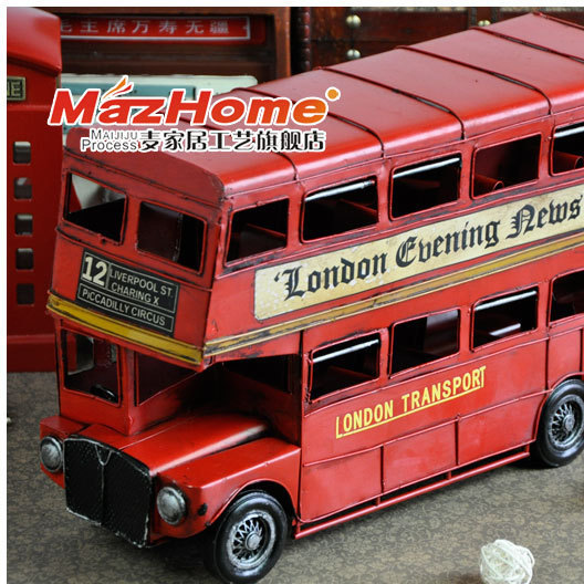 复古怀旧英伦双层巴士手工铁皮汽车模型摆件吧台摄影道具创意礼