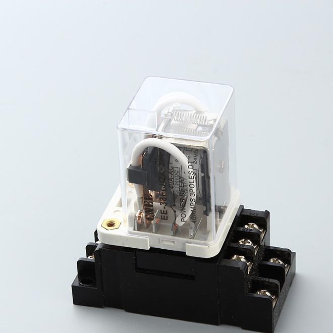 JQX-38F大功率继电器40A 三相电磁继电器 DC12V配11脚插座底座