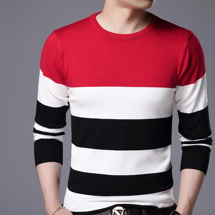 2017秋冬季新款韩版青年拼色长袖套头针织衫毛衣男装圆领一件代发