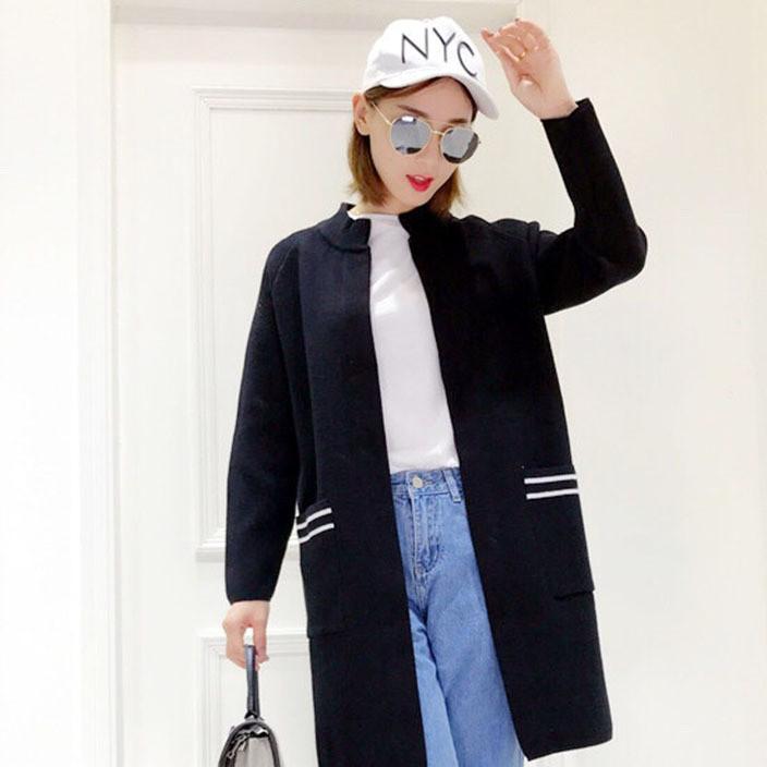 2017秋装新款女装开衫女式百搭中长款针织衫女拼色时尚毛衣外套潮
