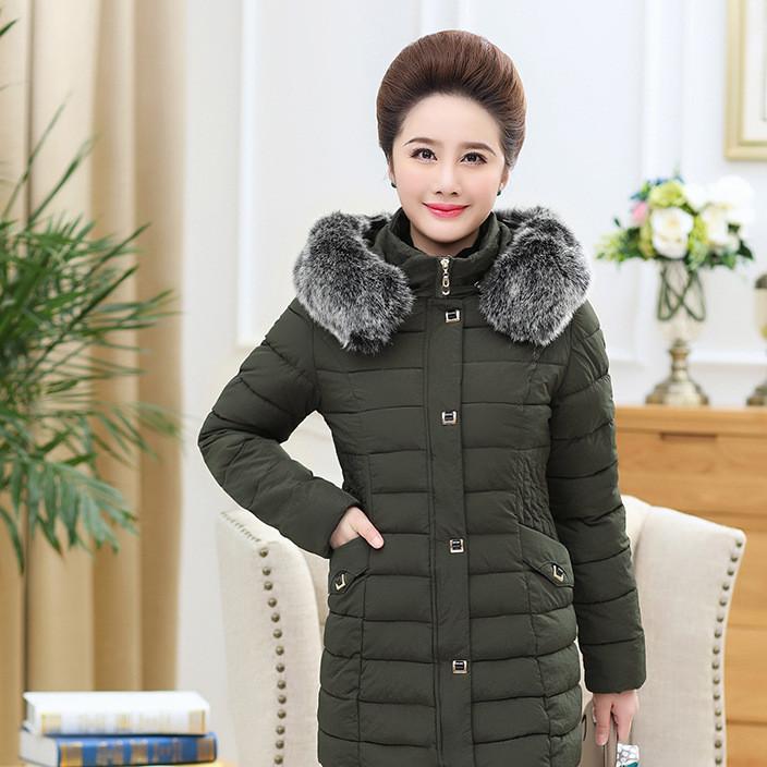 中老年女装羽绒棉衣大码中长款大毛领妈妈装棉服棉袄外套上衣女