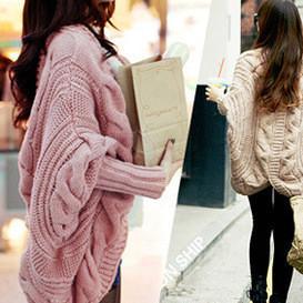 秋冬装新款粗针针织衫蝙蝠袖开衫宽松披肩加厚毛衣开衫外套女