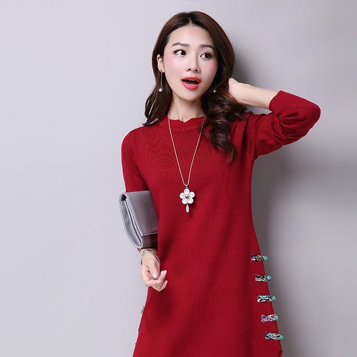 韩版女士秋冬装宽松半高领毛衣羊绒衫中长款套头羊毛打底衫连衣裙