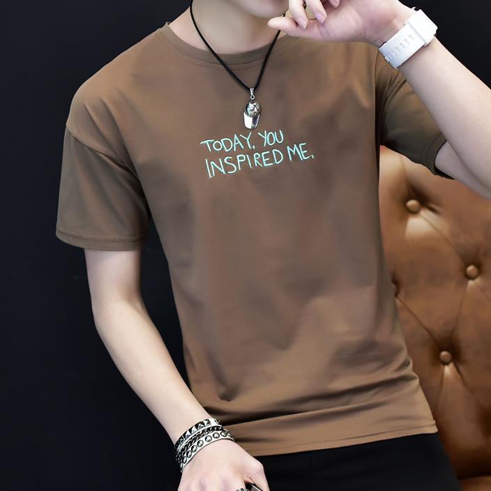 一件代发短袖t恤批发男士半袖上衣服潮流修身夏装半截袖体恤男装