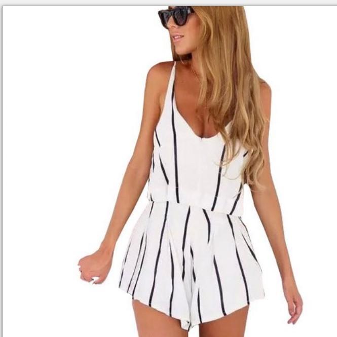 eaby热卖SW1091欧美性感低胸吊带条纹两件套套装女装wish外贸