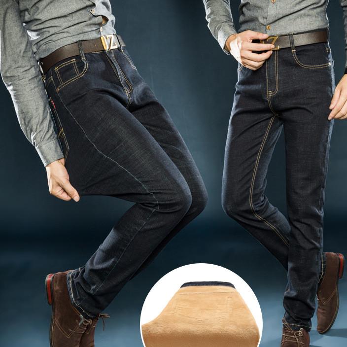 冬季新款男士加绒加厚牛仔裤批发 直筒修身男装保暖时尚长裤代发