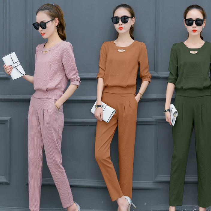 时尚套装女装2017秋装新款洋气显瘦名媛气质小香风休闲韩版两件套