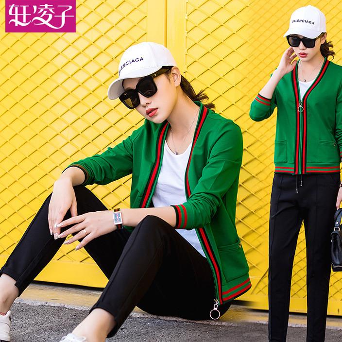 运动服套装女2018春季新款韩版长袖休闲运动套装女春秋三件套卫衣