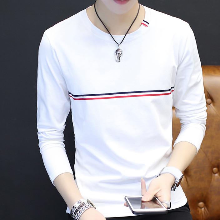 秋季男士纯色圆领长袖t恤青少年韩版体恤学生休闲秋衣打底小衫男