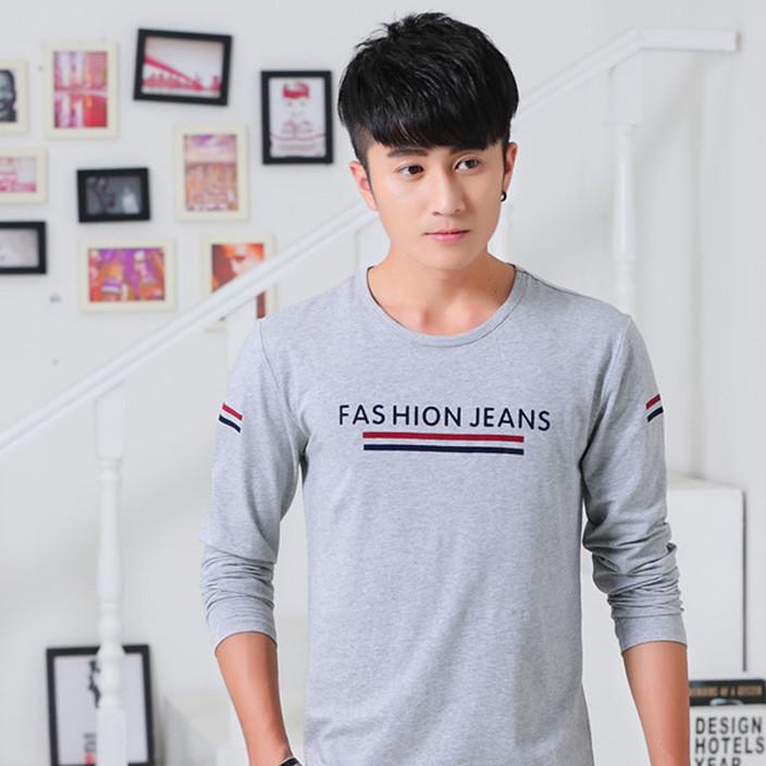 秋季男士长袖t恤印花韩版青少年加大码圆领T桖潮男装体恤男上衣服
