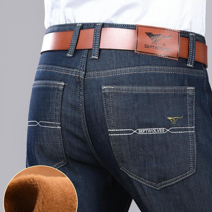加绒加厚七皮狼品牌牛仔男式中年 青年潮直筒大码商务御寒黄金绒