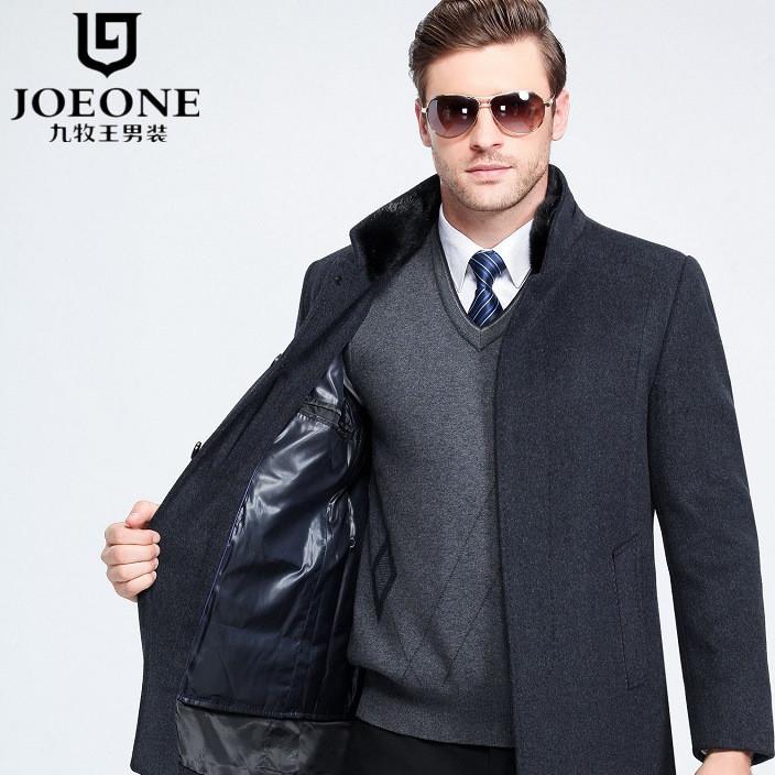 羊绒大衣 羽绒内胆呢外套 大码冬装可拆卸立领加厚羊毛绒男士夹克