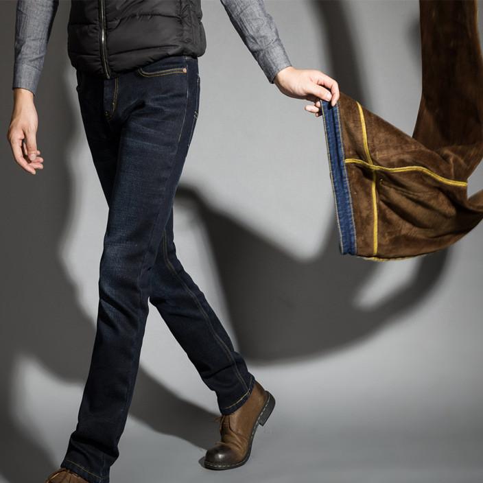 冬季高弹力加绒牛仔裤男商务修身加厚男士直筒牛仔裤男装一件代发