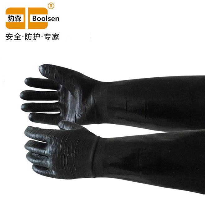 厂家直销批发劳保手套黑色45CM绒里氯丁起皱手套
