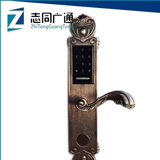 家用密码锁公寓别墅刷卡密码钥匙三合一功能指纹密码门锁厂家