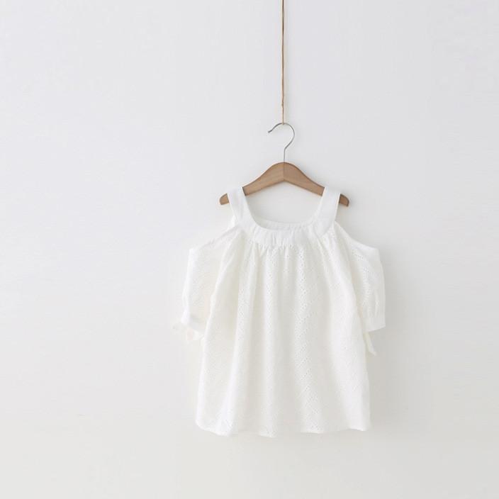 女童上衣 杨梅童装2017新款夏装女童吊带露肩T恤 宝宝波浪纹短袖