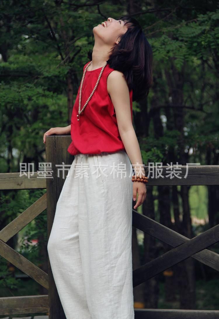 夏原创棉麻女装铜氨丝背心无袖上衣真丝打底衫大红