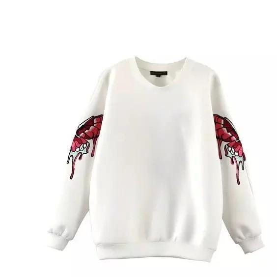 代发2016欧美同款三个蝴蝶高端刺绣女式卫衣7797