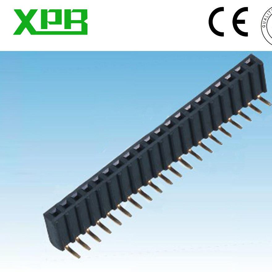 深圳工厂,2.54单排排母90度 塑高8.5U端波浪型胶芯PCB连接器排母
