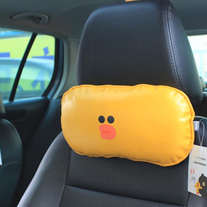 新款韩国卡通可爱布朗熊莎莉鸡汽车头枕护颈枕车用头枕颈枕头靠