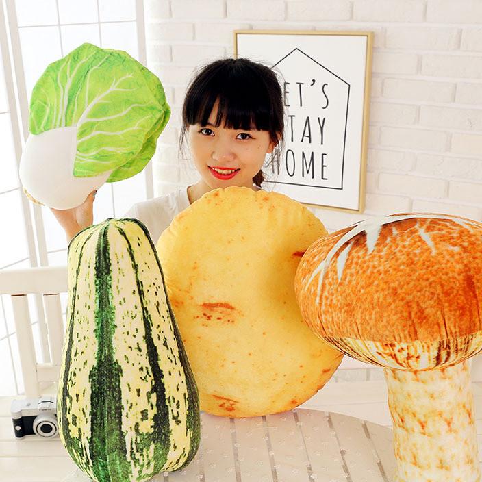 厂家批发3d创意仿真水果蔬菜食物白菜抱枕道具靠垫小礼品毛绒玩具