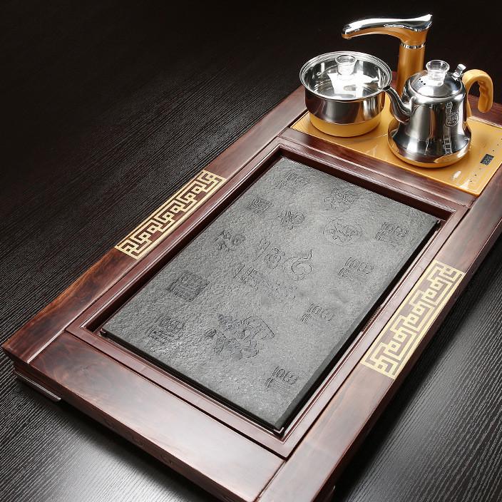 厂家批发新款柯木茶盘柴烧9245cm电磁炉四合一现货 实木茶海直销