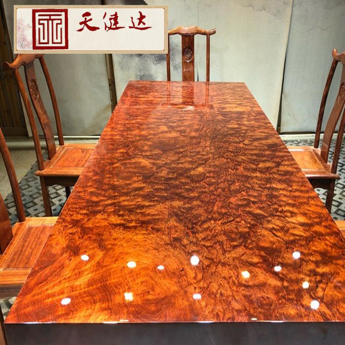 现货巴花实木大板 黑檀老板办公桌 原木会议桌大班台 红木家具