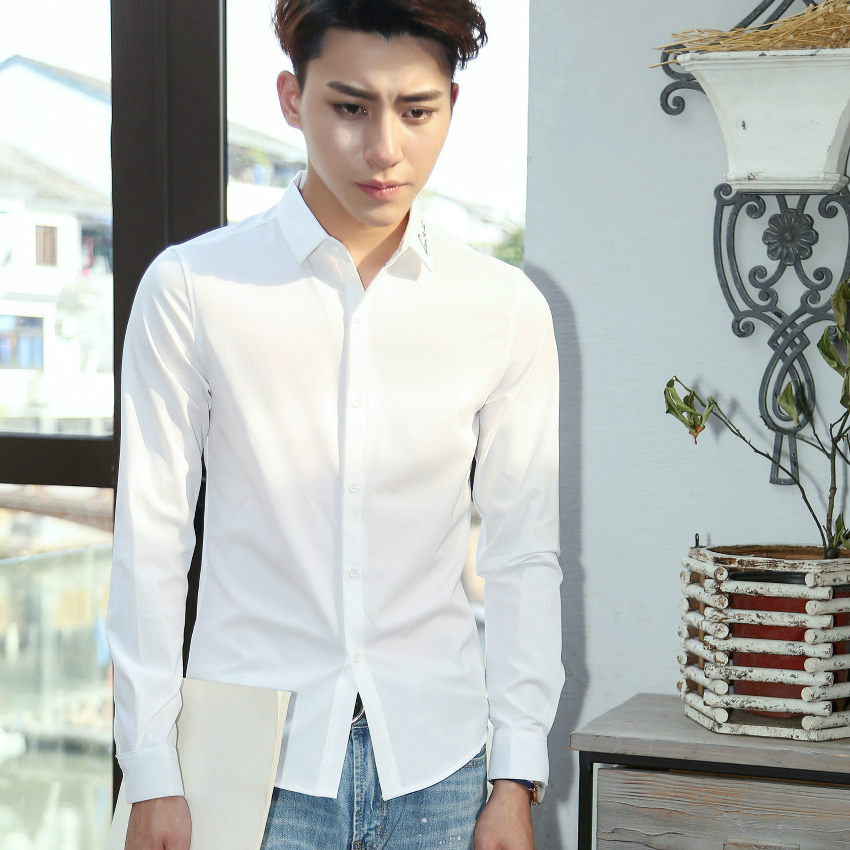 2016秋季新款衬衣男士长袖衬衫 男式青少年韩版衬衫男 爆款