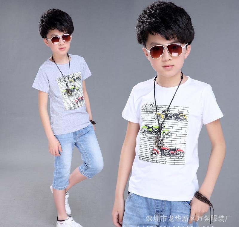 2016年夏款热售儿童卡通短袖t恤纯棉 新款休闲圆领男女童短袖T恤