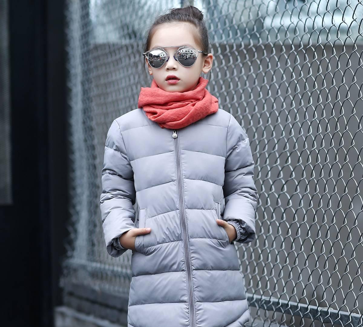 儿童羽绒服女 2016新款韩版秋冬时尚休闲中长款外套 女童保暖衣