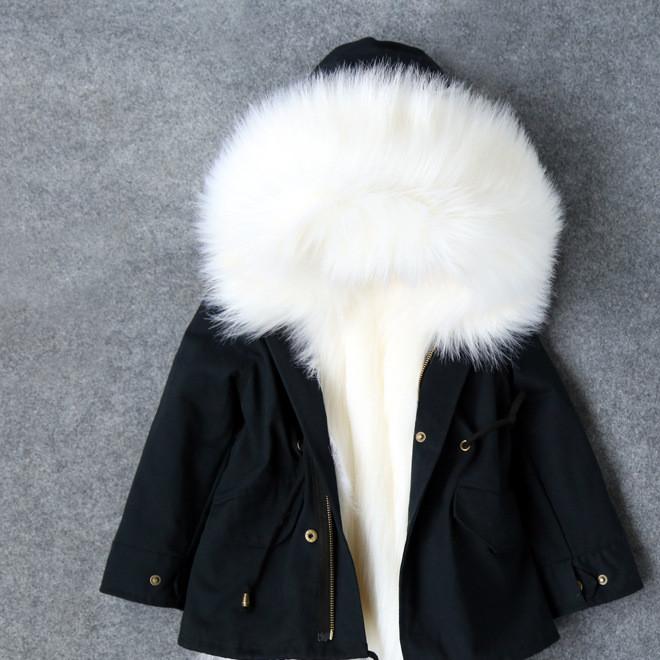 2016冬季童装男童女童连帽加厚棉衣儿童皮草大毛领韩版中长款外套