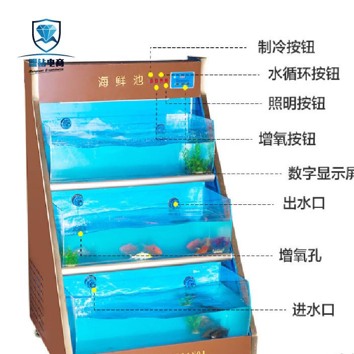 海鲜池鱼缸酒店专用制冷海鲜池多功能海鲜池增氧水循环1.2米1.5米