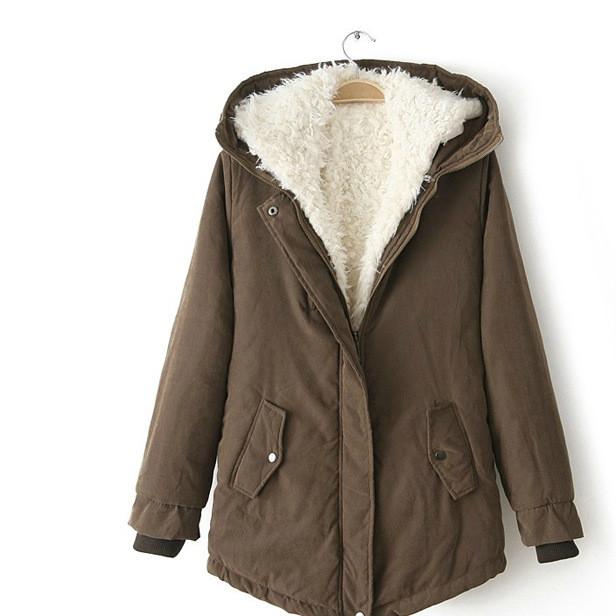 可一件代发冬装女装棉衣棉服休闲百搭中长款羊羔绒毛内胆外套